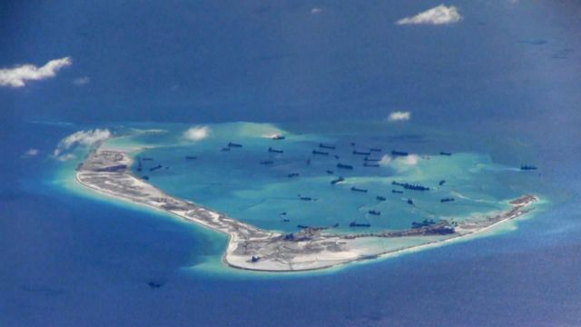 Mischief Reef, disputed Spratly Islands where Chinese dredging vessels were seen on May 21, 2016