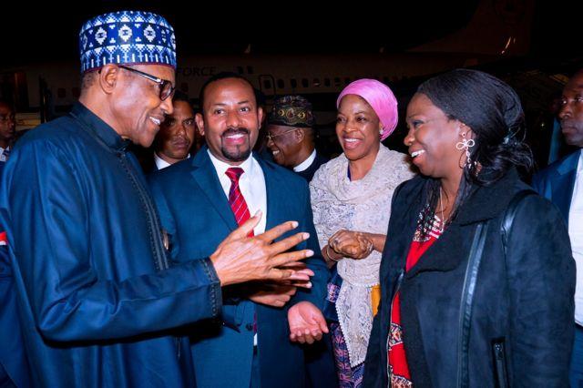 Shugaba Muhammadu yayin da ya isa kasar Ethiopia ranar Juma'a