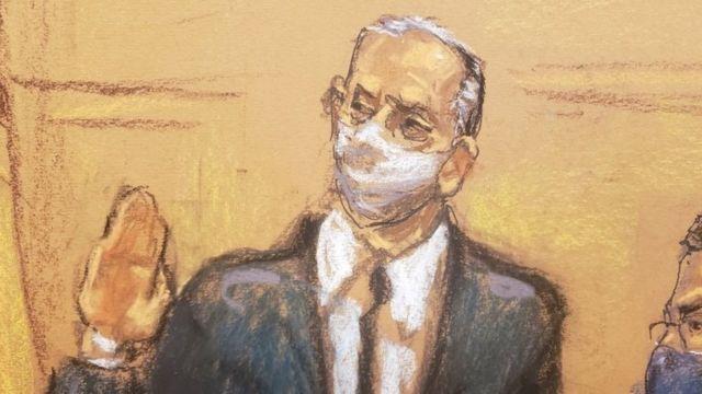 A drawing representing Salvador Cienfuegos swearing in before Judge Carol Bagley Amon.