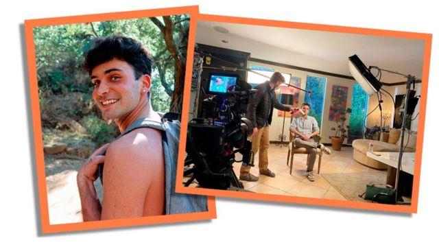 Fotos de de Daniel durante uma caminhada e filmando um documentário