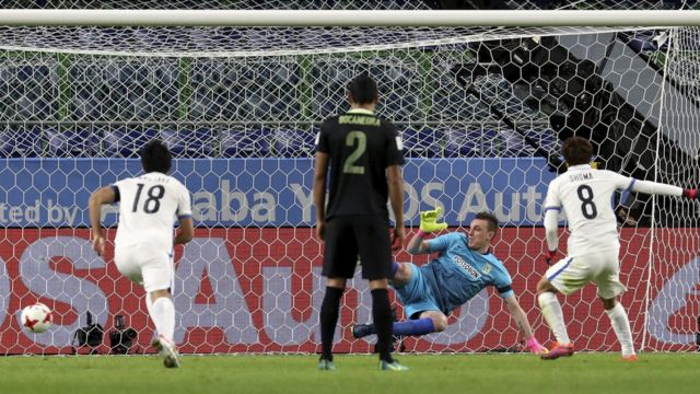 Shoma transformó el penalti y abrió la cuenta de la goleada.
