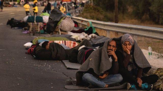 Migrants sleeping rough after fleeing Moria camp, 10 Sep 20