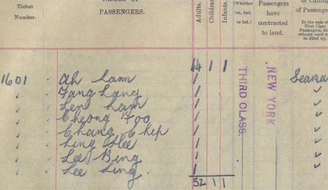 八名華人登船時的記錄