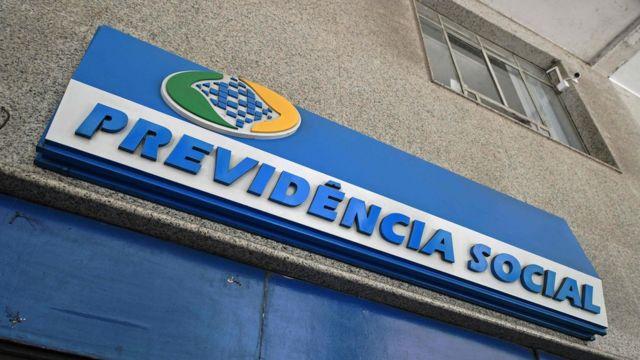 Logomarca da Previdência Socialem prédio