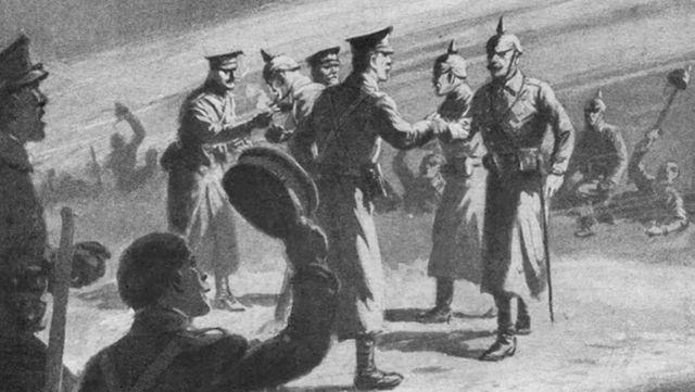 Soldados alemães e britânicos se cumprimentam
