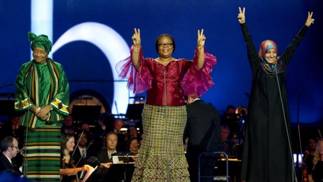 Las tres ganadoras del Premio Nobel de la Paz en 2011