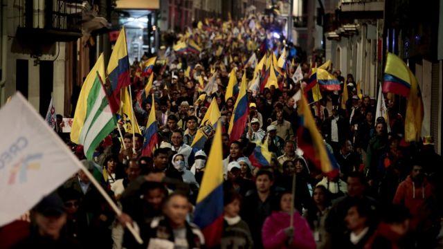 Manifestantes opositores en Quito.