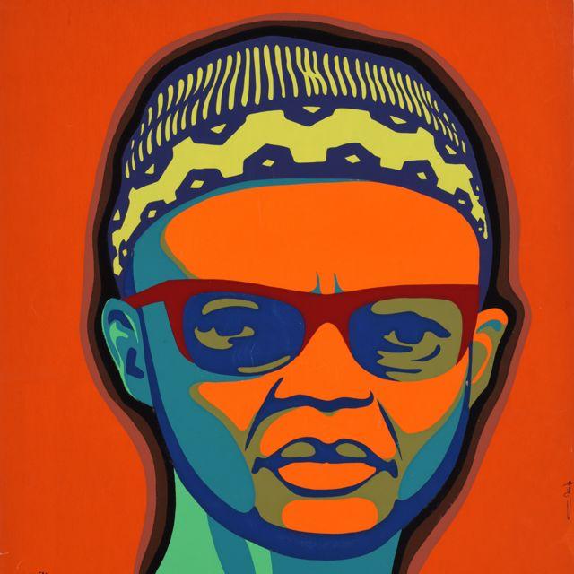 """Une affiche Ospaaal intitulée """"Journée de solidarité"""" avec le peuple de Guinée-Bissau et des îles du Cap-Vert, 1974, montrant Amílcar Cabral"""