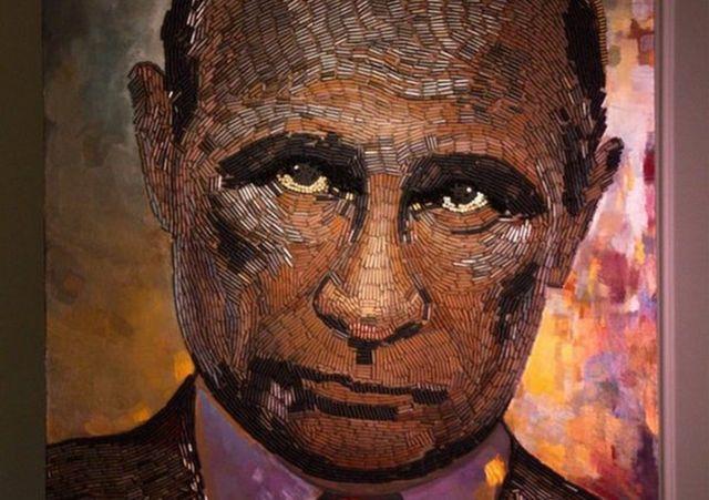 Портрет президента России Владимира Путина, выложенный из гильз