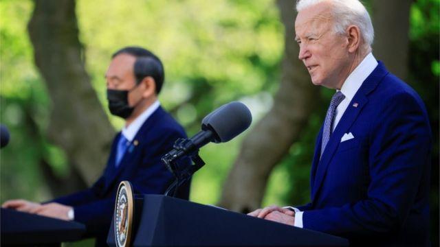 日本首相菅义伟与美国总统拜登