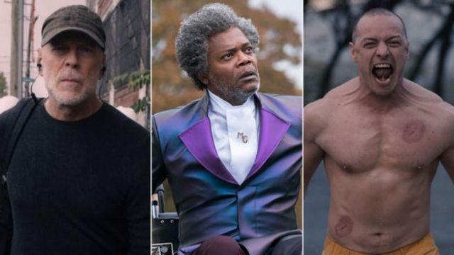 """من اليسار بروس ويليس، صاموئيل جاكسون، وجيمس مكافوي كما يظهرون في فيلم """"زجاج"""""""