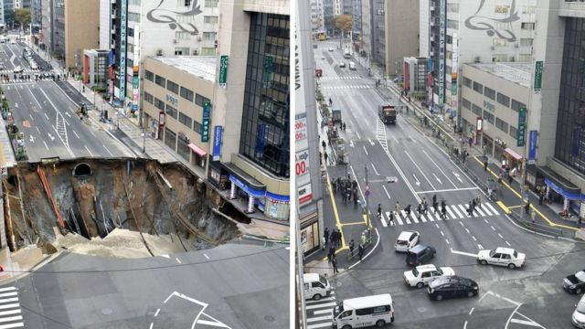 Japan mends giant sinkhole in a Fukuoka road within a week