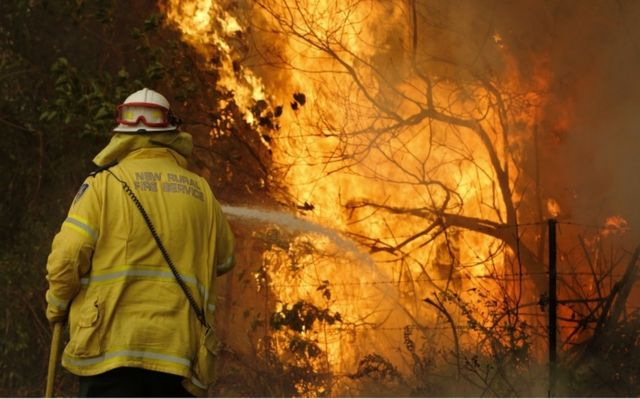 A firefighter works to contain a fire near Taree, New South Wales, Australia, 12 November 2019.