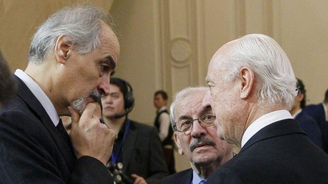 المبعوث الأممي ستافان دي ميستورا وممثل الحكومة السورية بشار الجعفري