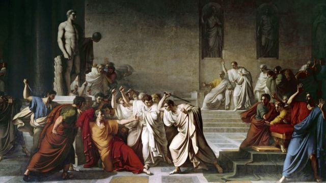 El asesinato de Julio César en el Senado romano, pintado por Camuccini