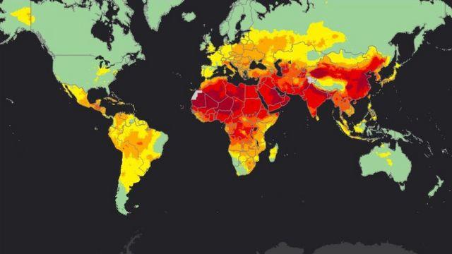 WHO가 대기 오염 정도에 따라 색깔로 분류해놓은 지도