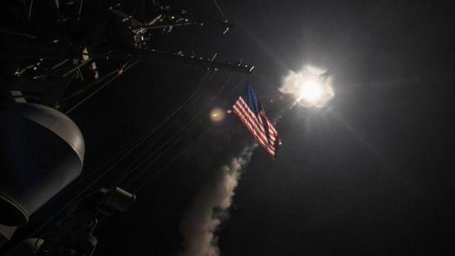Запуск ракет с американского корабля
