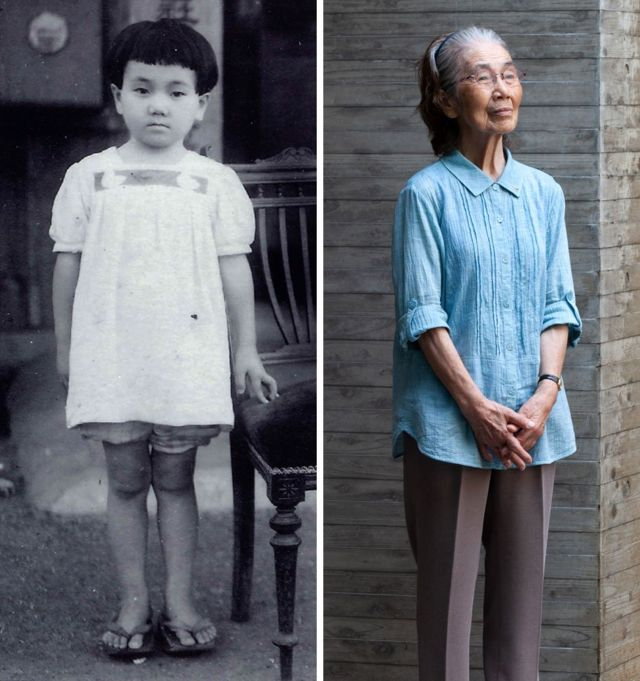 Reiko seen aged five and seen aged 79