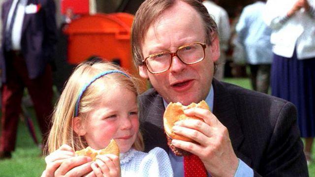 John Gummer e sua filha Cordelia em 1990
