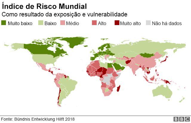 Mapa mostrando o índice de risco mundial a desastres naturais, por país