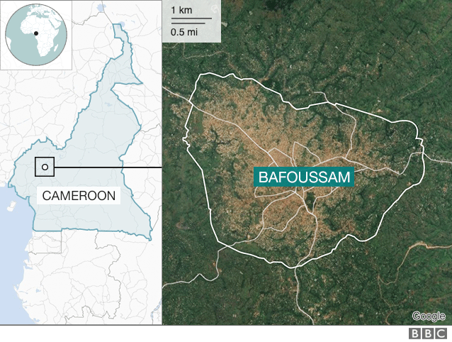 Dis na di map of Bafoussam for Cameroon