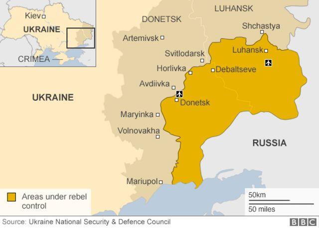 ウクライナで親ロシア派が支配する地域