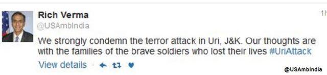 रिचर्ड वर्मा ने उरी हमले पर ट्वीट किया