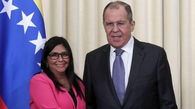 Delcy Rodríguez y Sergei Lavrov