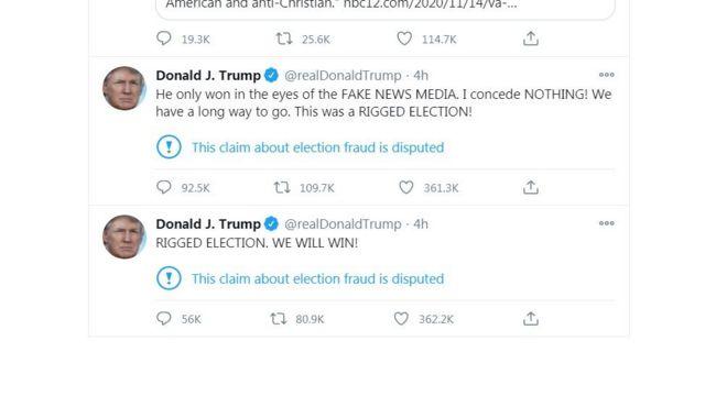 特朗普在發推特說「他(拜登)贏了,因為選舉舞弊」,「他只是在報道假新聞的媒體眼裏贏了。我沒有認輸。」