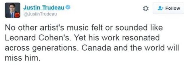 ubutumbwa bwa Twitter bw'umushikiranganji wa mbere wa Canada