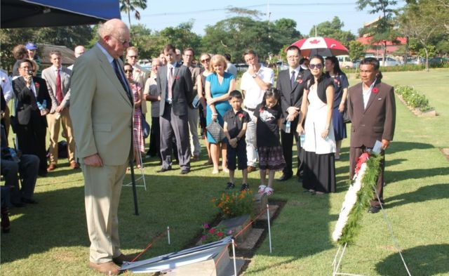 Peter Bankes at the memorial service for Capt Bankes in a war cemetery outside Yangon