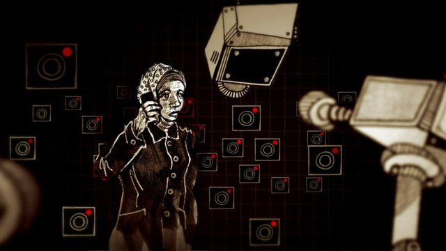 Portrayal of Samah on phone surrounded by cameras