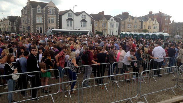 People queuing at Dismaland