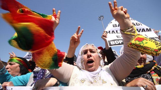 Protesta de kurdos en Estambul.