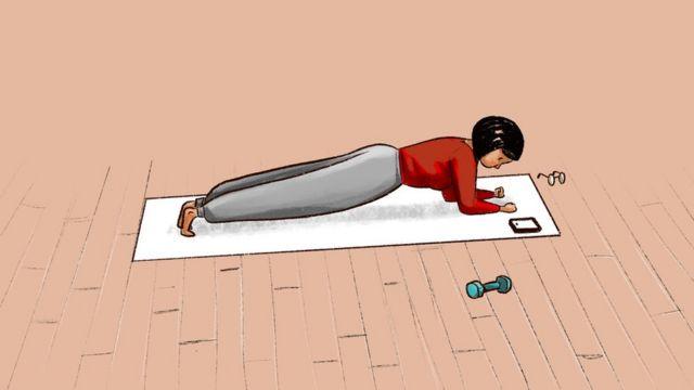 插图(独自锻炼的妇女)