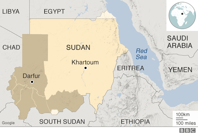 Map of Sudan and surrounding region