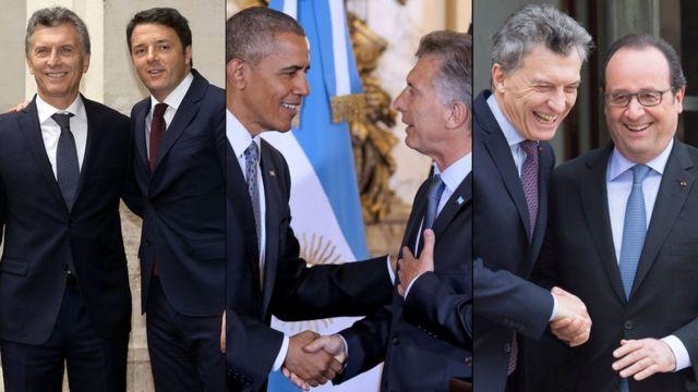 Macri con Renzi, Obama y Hollande
