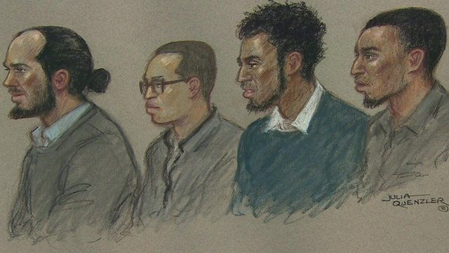 Court drawing of four of the accused