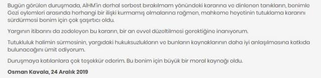 Osman Kavala'nın açıklaması