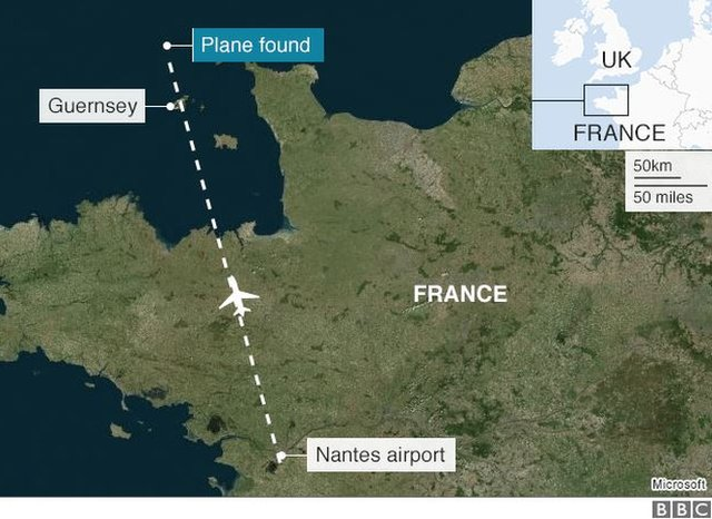 Map of location where the plane was found