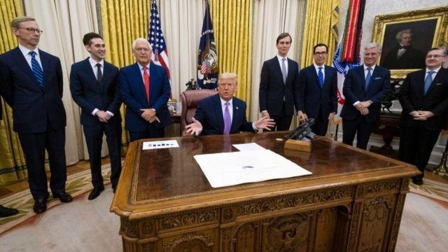 ترامب في مكتبه وحوله عدد من المسؤولين الأمريكيين.