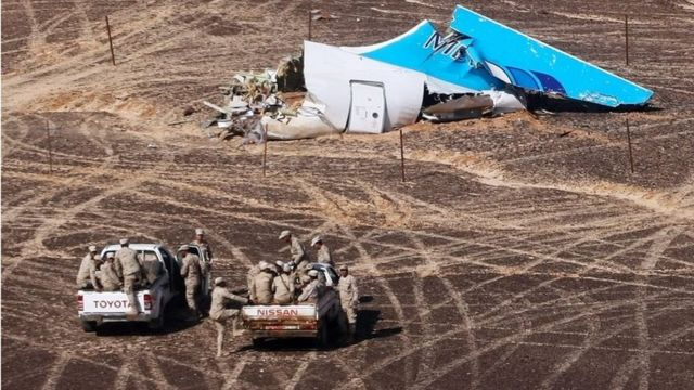 The wreckage of an A321 Russian airliner in Wadi al-Zolomat, a mountainous area of Egypt's Sinai Peninsula