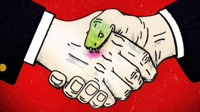 Apretón de mano con dedo como víbora