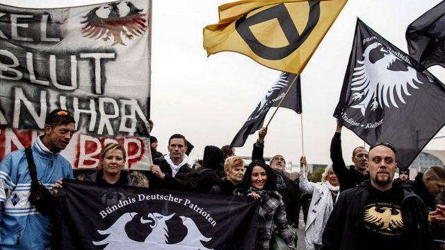 Marcha de movimientos de ultraderecha en Alemania.