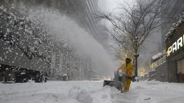 Clearing snow in New York