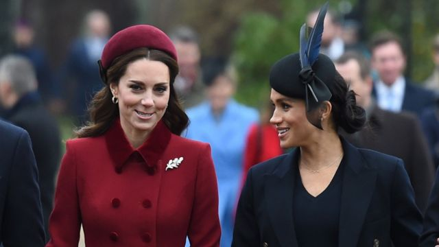 The Duchess of Cambridge and the Duchess of Sussex arrive at the morning service