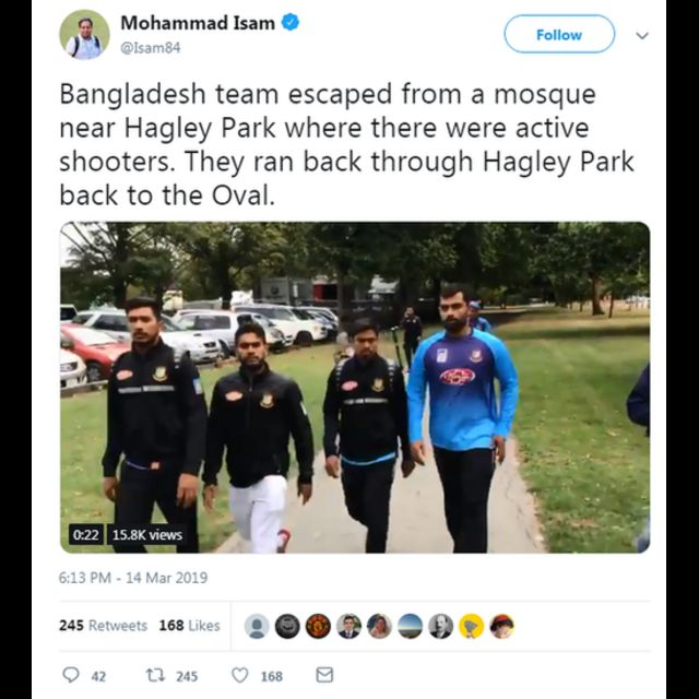 A tweet from reporter Mohammad Islam showing Bangladesh cricketers
