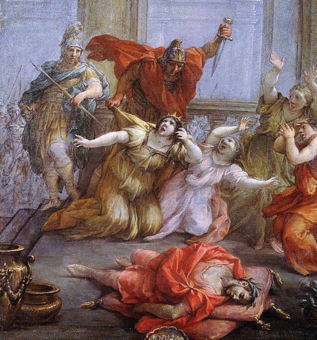"""""""El asesinato del emperador Calígula, su esposa y su hija"""" por Lazzaro Baldi"""