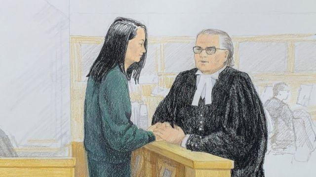 Interpretación artística de Meng Wanzhou en el tribunal de Vancouver, Canadá