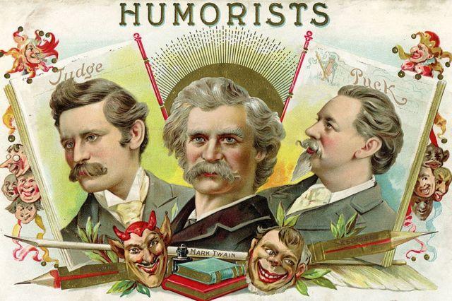 """Retratos de tres """"humoristas"""" estadounidenses de finales del siglo XIX, en el que aparece Mark Twain, junto con los caricaturistas Bernard Gillam (izquierda) de la revista 'Judge' y Joseph Keppler de la revista 'Puck'."""